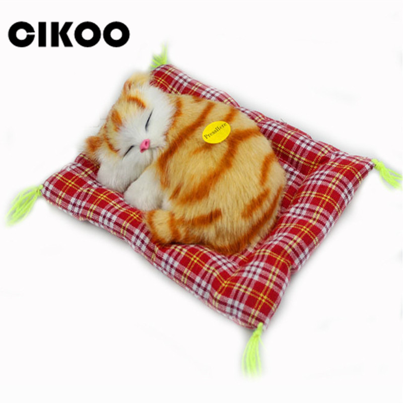 CIKOO Stuffed Toys Lovely Simulation Animal Doll Plush Sleeping Cats Toy with Sound Kids Toy Decorations Birthday Gift For Child sweet bob style short pink straight side bang synthetic haruno sakura cosplay wig