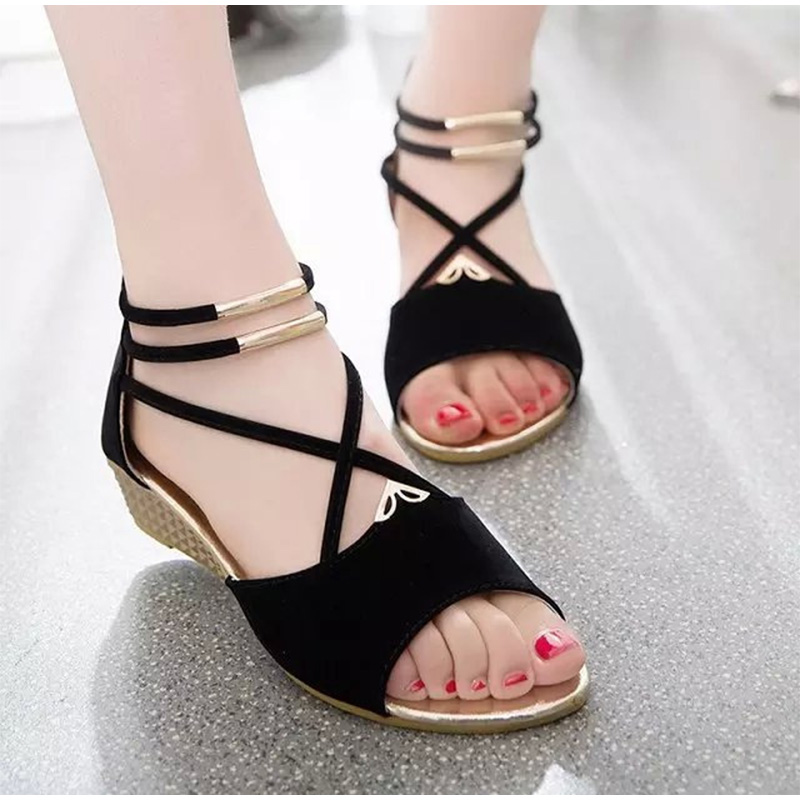 Gladiator-Sandals Wedges Casual-Shoes Cross-Strap Comfortable Female Peep-Toe Fashion