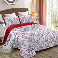 Quality Cotton Bedspread Quilt Set 3pcs Coverlet Europe Solid Embroidered Quilts Bed Covers King Queen Size Quilted Blanket