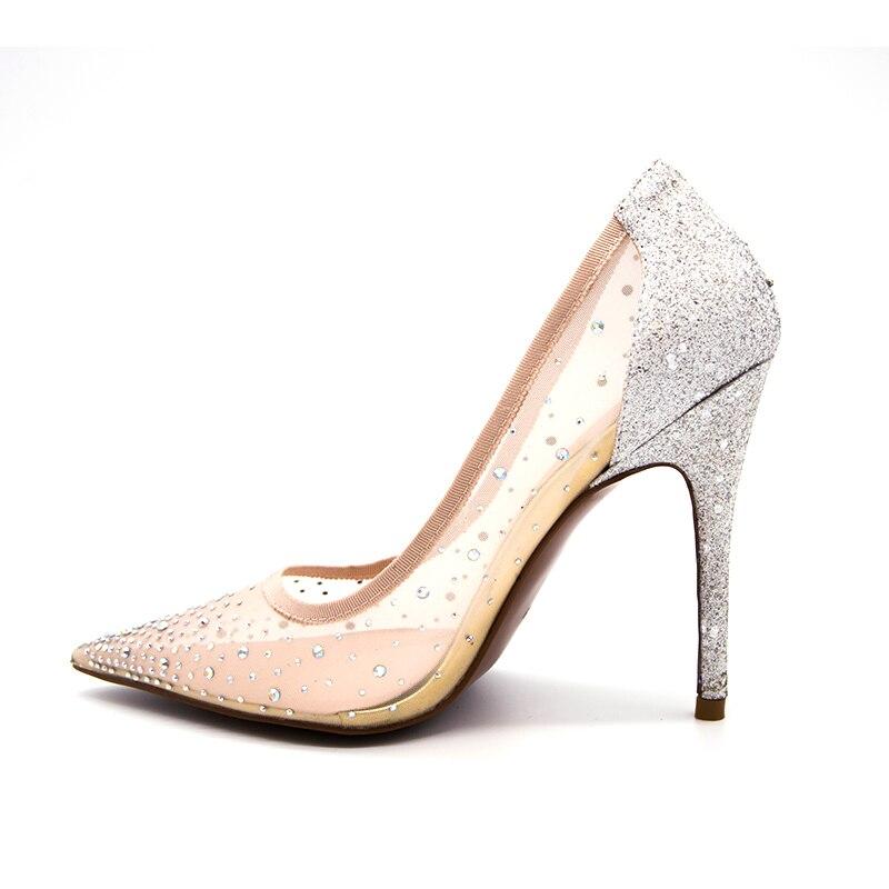 Imitación Caqui Dedo Boda Brillo 2018 Diamantes Puntiagudo Del Verano Zapatos Nuevo Tacón Cenicienta Alto Mujeres De Las Cristal Mujer Pie wHqxAXHfp