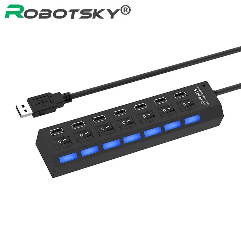Высокоскоростной usb хаб 2,0 480 Мбит/с 7 портов микро концентратор USB вкл. Переключатель USB сплиттер адаптер для ПК ноутбука компьютера usb хабКабели передачи данных    АлиЭкспресс