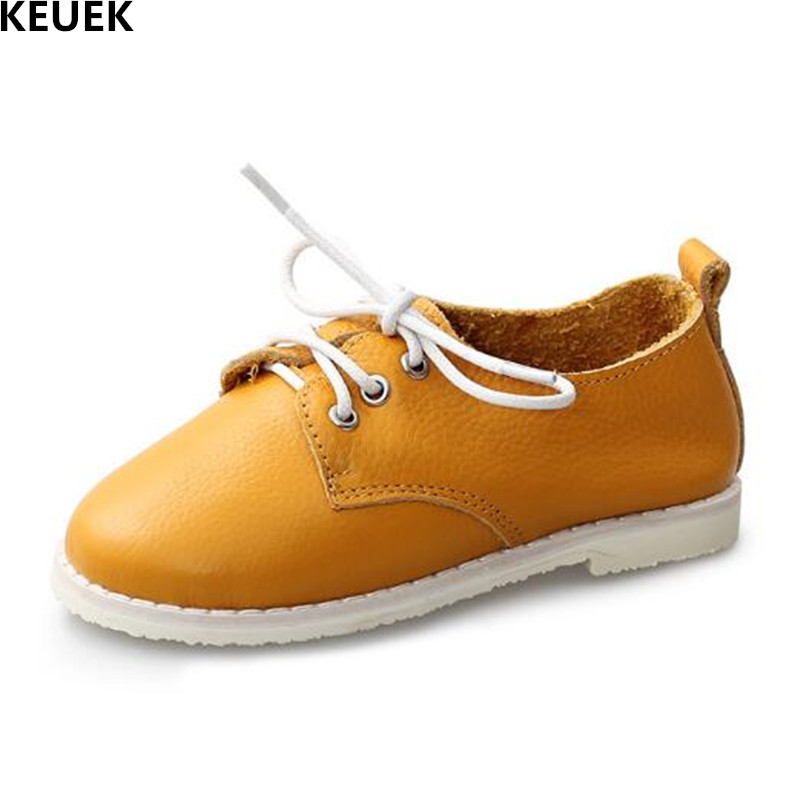 New Children Shoes Autumn Casual Lace-Up Genuine Leather Shoes Boys Girls Flats Breathable Moccasins Kids Shoes Baby 041 new fashion genuine leather children shoes boys girls casual brogue shoes baby breathable flats kids oxford shoes sneakers 03