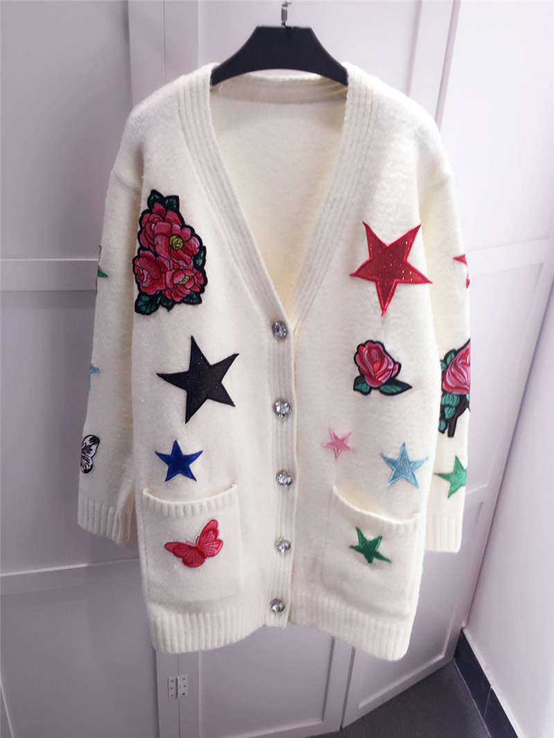 De l Cardigan Poitrine Long Tricot Mi Femmes Exquise m Manteau Broderie Chandail Unique S Mode qU0A6xwtw