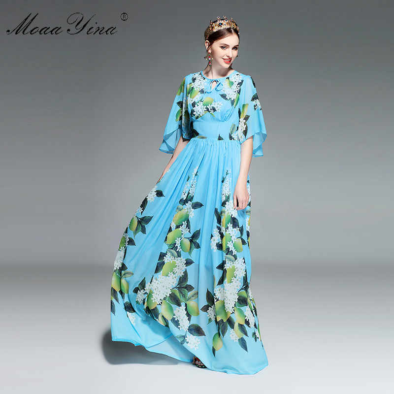 Moaayinaデザイナー滑走路マキシドレス夏の女性フレア袖の花の印刷レモンサッシレジャー休日ボヘミアエレガントなドレス