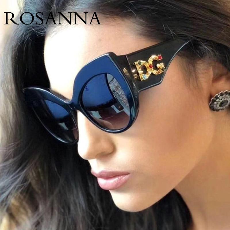 573032911bb ROSANNA 2019 New Cat Eye Sunglasses Vintage Retro Women Wide Leg Brand  Designe Diamond D Sun