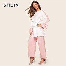 SHEIN Abaya elegancka w dwóch odcieniach z wszytym paskiem Top i spodnie szerokie nogawki 2 sztuka zestaw kobiety 2019 wiosenne jesienne z długim rękawem bluzka dwa częściowy zestaw