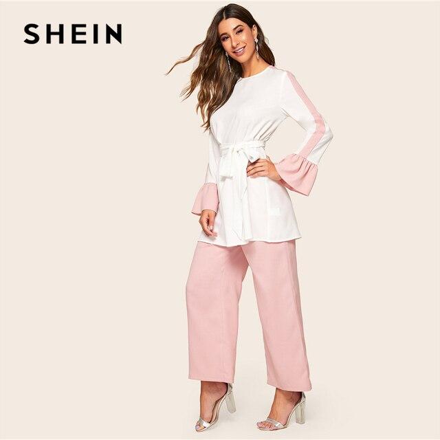 Shein abaya elegante dois tons auto com cinto superior e perna larga calças 2 peça conjunto feminino 2019 primavera outono longo blusa conjunto de duas peças