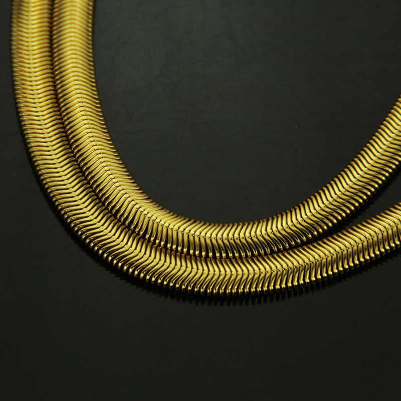 lovty 18 K Yellow Gold Long Chains Necklace Men Women 75cm Chain Fashion Hip Hop Flat Snake Bone Chain Choker Jewelry