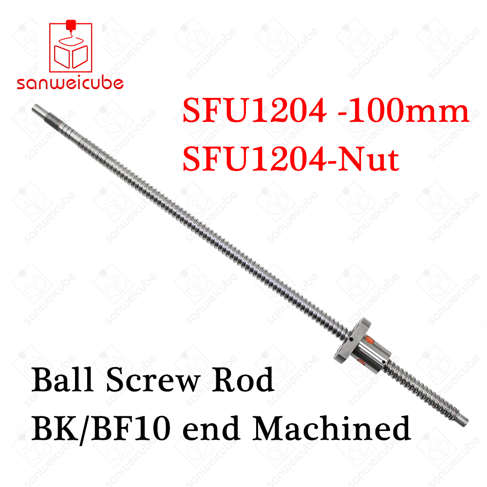 SFU1204 12mm 1204 Ball Screw Rolled C7 ballscrew SFU1204 100mm with one 1204 flange single ball nut for CNC parts end machined axk 12mm 1204 ball screw rolled c7 ballscrew sfu1204 250mm with one 1204 flange single ball nut for cnc parts no ends