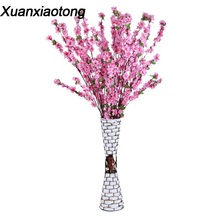 Xuanxiaotong 5pc/lot Silk Long Peach Branches Artificial Flowers Plum Cherry Blossoms Tree for Wedding Decoration