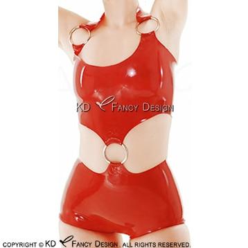 Rouge Sexy licou Latex Catsuit avec O anneaux en caoutchouc combinaison corps costume Body Zentai global LTY-0203