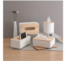 Home Kitchen Wooden Plastic Tissue Box  Modern Cover Paper Car Napkins Holder Case Organizer Decoration Tools