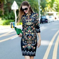 2019 Fashion Spring Autumn Runway Dress Women High Quality Luxury Jewelry Print Vintage Dress Female Casual Knee Length Dresses