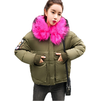 New Winter Short Feminino Parka 2017 Women Slim Long Sleeve Faux Fur Collar Hooded Thick Black