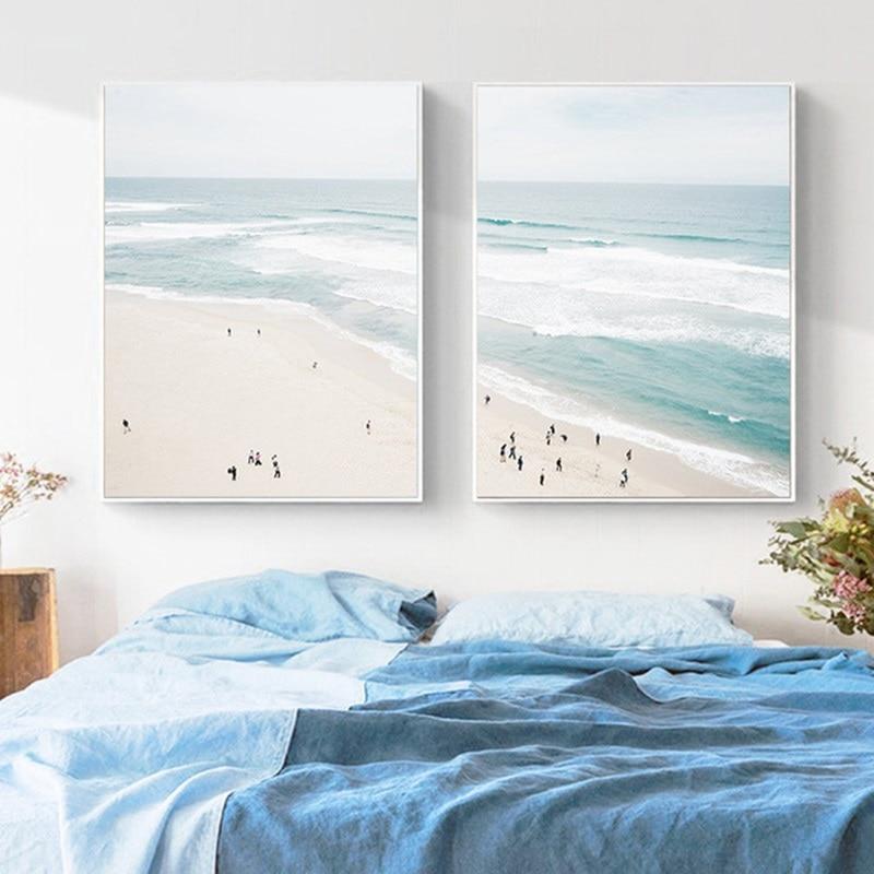 Beachy Living Room Big On Wall Decor: Aerial Beach Poster Ocean Print Seascape Canvas Painting