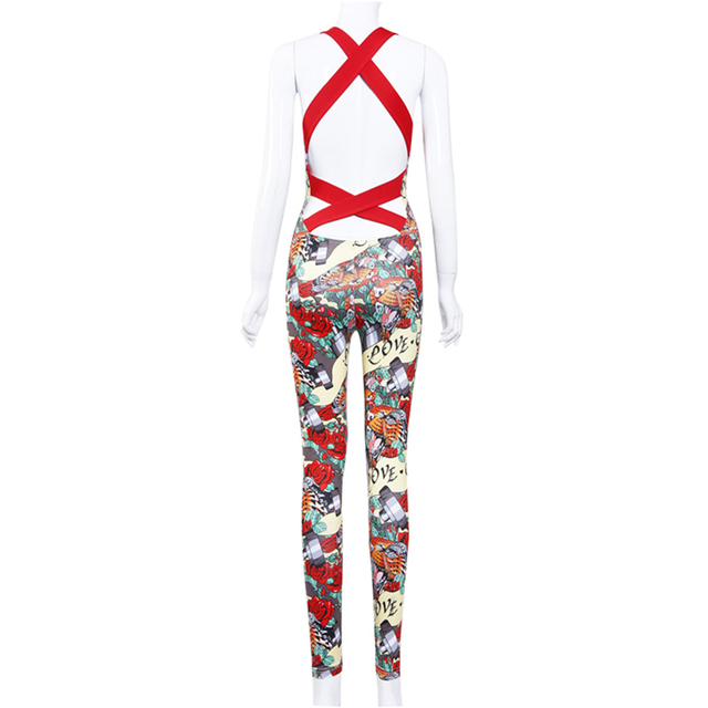 Women's Fitness Floral Backless Jumpsuit
