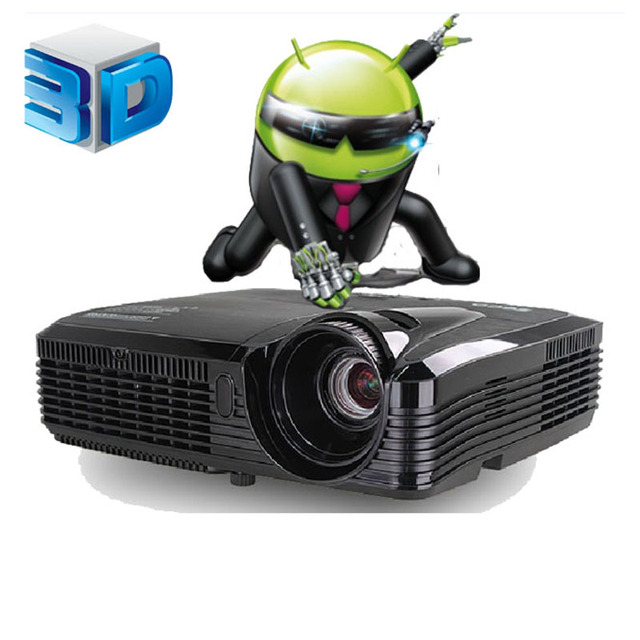 Quad core Android 4.4 Wifi Full HD 5500 Lúmenes 240 W lámpara 3D Inteligente Proyector DLP Contraste 16000: 1 Digital Video Proyector Beamer