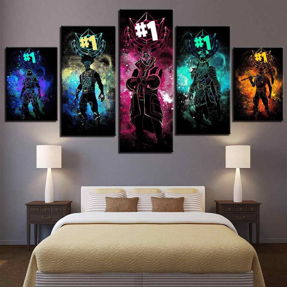 Ruang Tamu HD Dicetak Game Abstrak Gambar Dinding Seni Poster 5 Buah Modular Populer Kanvas Lukisan Dekorasi Rumah Karya Seni