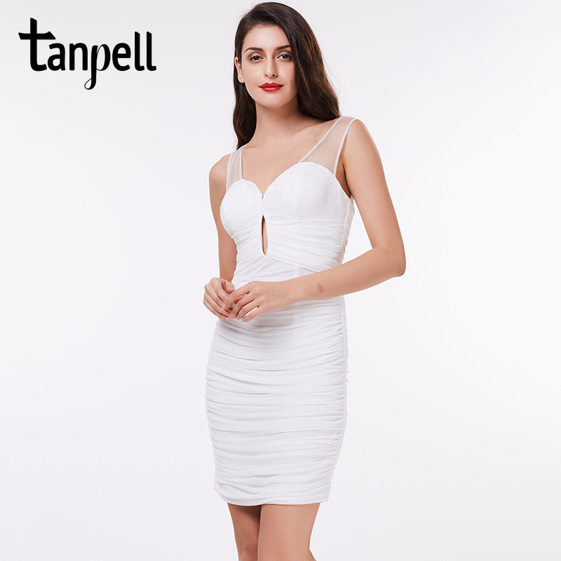 7536ce55acfd6 Tanpell v neck cocktail dress white above knee pleats straight gown cheap  women black party homecoming short cocktail dresses