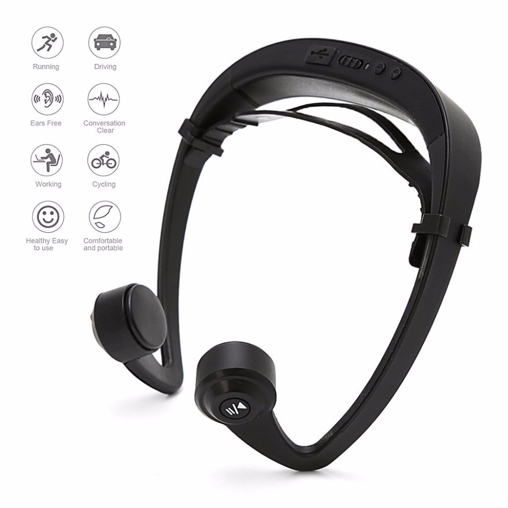 Bone Conduction Earphone Bluetooth Headset Sport Headphone Wireless Outdoor Stereo with Microphone for iphone Samsung Android novelty intelligent shake control unti sleep bluetooth bone conduction earphone headset with polarized lenses for car driving