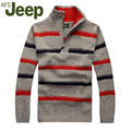 2016 Новая Осень Зима Jeep/Джип Мужчины толщиной полосатый свитер пуловер свитер большой размер мужская повседневная Тонкий М-3XL 48