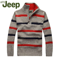 2015 The New Fall Winter Jeep Jeep Men Thick Striped Sweater Pullover Sweater Large Size Men