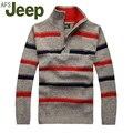 2016 El Nuevo Otoño Invierno Jeep/Jeep de Los Hombres gruesos suéter a rayas suéter del suéter de gran tamaño Delgado ocasional de los hombres M-3XL 48