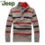 2016 Nova Queda de Inverno Jipe/Jeep Homens grosso suéter listrado pullover camisola tamanho grande dos homens casuais Fino M-3XL 48