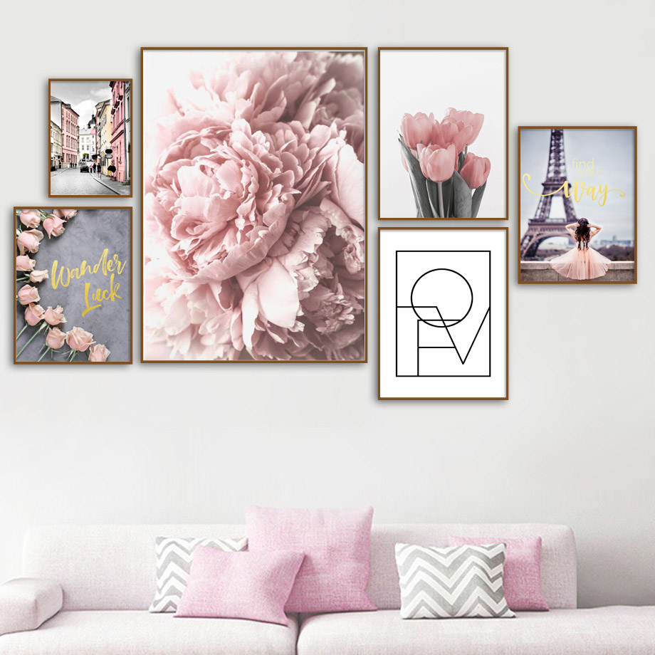 Canvas Painting Wall-Pictures Paris Peony Tulips Rose Nordic Posters Living-Room-Decor
