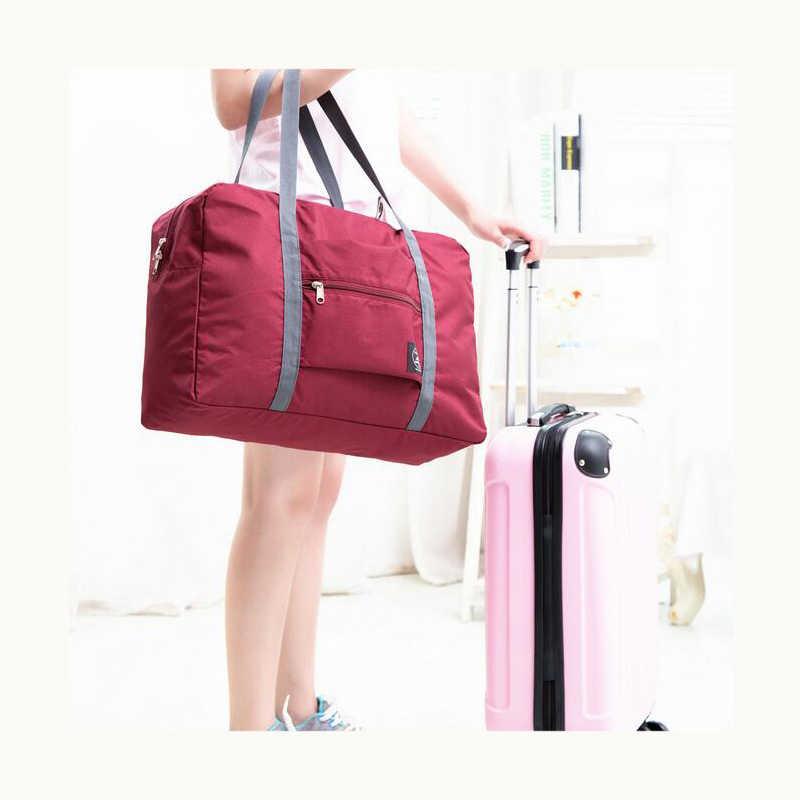2020 חדש ניילון מתקפל נסיעות יוניסקס קיבולת גדולה תיק מטען נשים עמיד למים תיקי גברים נסיעות שקיות משלוח חינם