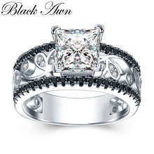 BLACK AWN Real 925 Sterling Silver Female Engagement Ring Trendy Wedding Rings for Women Sterling