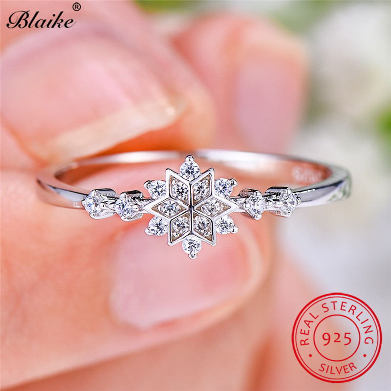 Minimalist s925 Sterling Silver Rings For Women Small Crystal Flower Ring Stacking Zircon Thin Ring Snowflake Wedding Bands(China)
