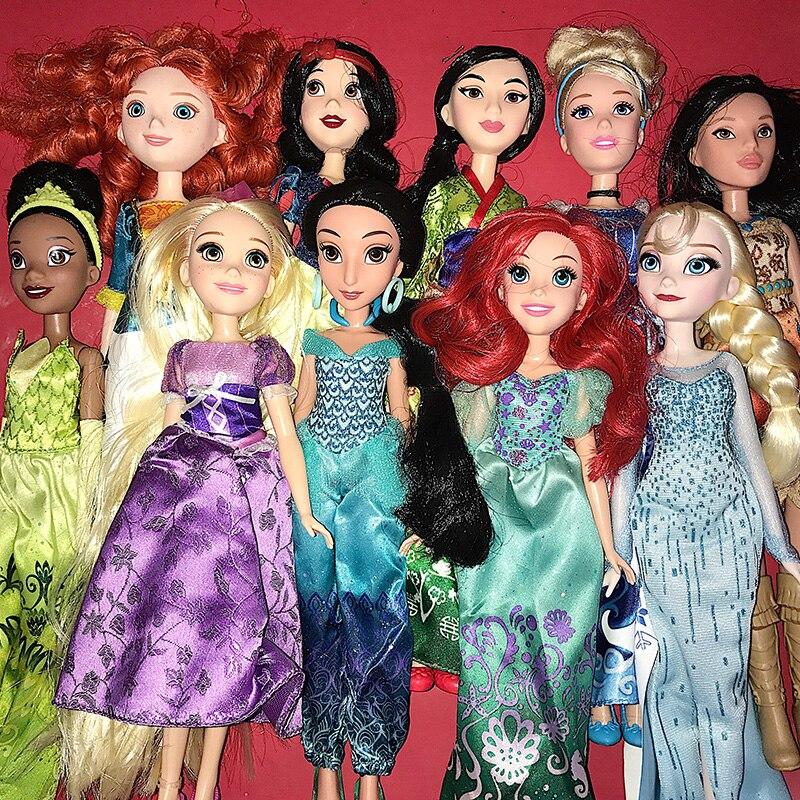 Rapunzel Princesa Jasmine Animadores Sharon Muñeca Sofia Merida Ariel Cinderella Blancanieves Belle Aurora muñecas Para niñas juguetes