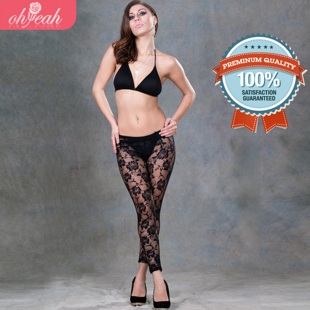 2016 Leggins Women Leggings Satin Drop Shipping New Stylish See Through On The Front Leggings Special Design Flowers Printed