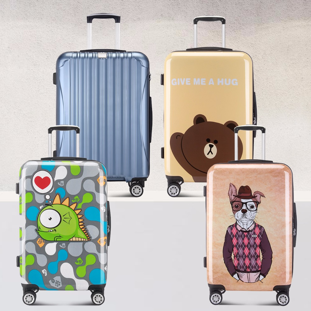 Cute Bear Cartoon Print Trolley Case Female 20 inch student spinner luggage box caster travel rolling luggage suitcase trunk travel aluminum blue dji mavic pro storage bag case box suitcase for drone battery remote controller accessories