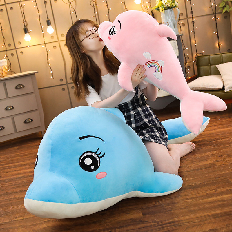 New 1pc 60cm-130cm Soft  Rainbow Dolphin Plush Toys Dolls Stuffed Animal Pillow Kawaii  Pillow Kids Toy Christmas Gift For Girls