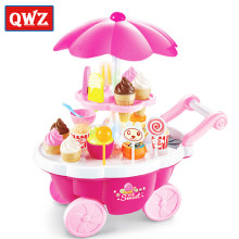 QWZ 39pcs Kids Simulation Candy Ice Cream Trolley Mini Pusher Car Toy Candy Ice Cream Supermarket Music Kids Pretend Play Toys(China)
