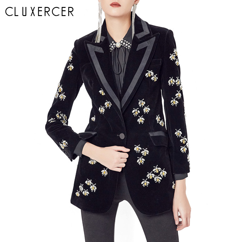 High Quality Velvet Blazer Women 2019 New Fashion Luxe Crystal Design Long Sleeve Slim Office Ladys  Blazers And Jackets