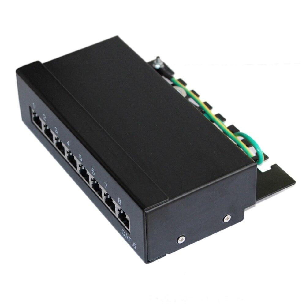 8 портов FTP Cat 6 щит сетевой патч-панель настенный 1U высота Fluke прошел для RJ 45 штекер, Keystone Jack, сетевые кабели