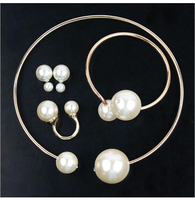 New Fashion Charms Big Pearl Bracelet Necklace Set Designer Jewelry ... bb0e1360cfa9