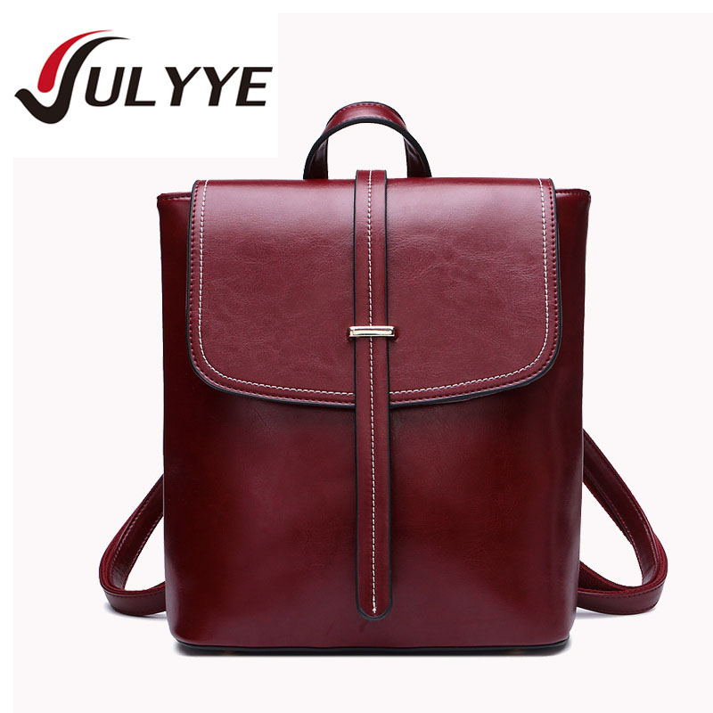 ФОТО 2016 New Fashion Cow Leather Women Vintage Style Backpack Bag Band Designer Ladies College School Bag Women Travel Backpack