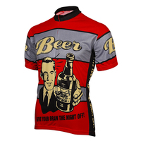 CUSROO 2017 novelty clothing Beer! Give Your Brain the Night Off Mens Cycling Jersey Ropa Ciclismo Cycling Jersey  short-sleeved