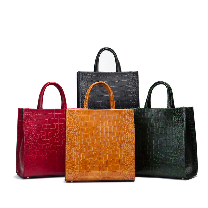 fashion Ladies Genuine Leather Handbags Summer New Crocodile Grain Totes Bags Women Simple Famous Brands Single Shoulder Bags new 2016 simple fashion brand designers handbags women composite bag women crocodile pattern totes wallets