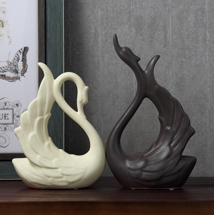 Porcelaine Couple Céramique Sculpture Amoureux Des Animaux Swan En 0k8OXnwP