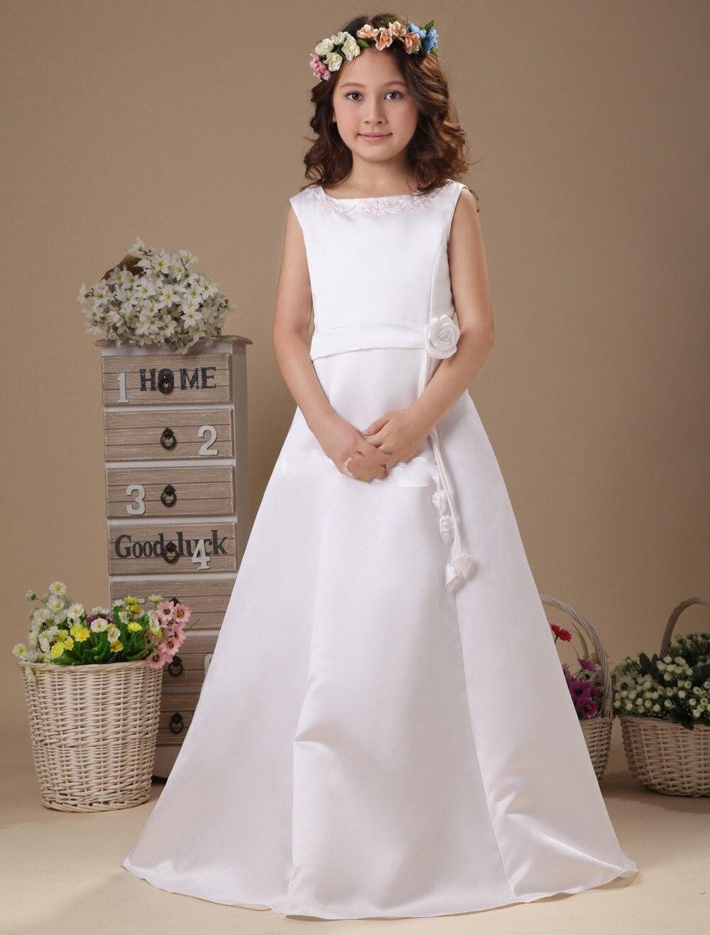 Vestido Comunion 2016 Vestido párr Daminha con el marco Custom Made Simple White vestidos niña vestidos