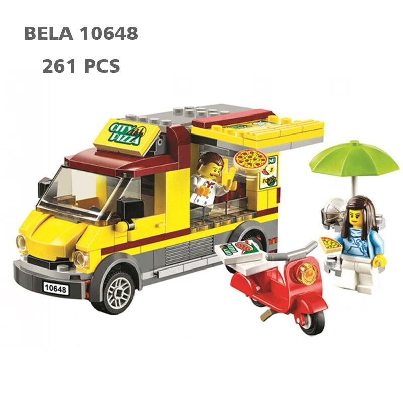BELA 10648 City Car Series 261 PCS Pizza Selling Car Van Figures Toys Building Blocks Bricks Toys Compatible 60150 Toys