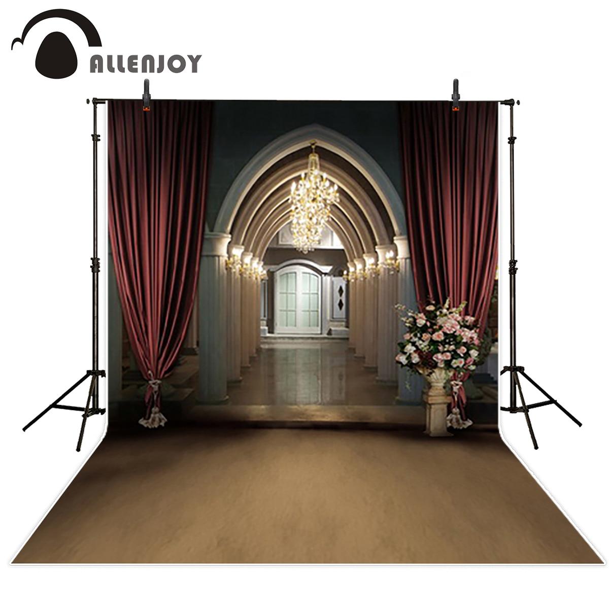 Allenjoy décors en vinyle pour la photographie toile de fond Église Arches sacré Rouge rideau Fond pour photo foto fond