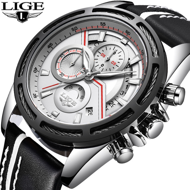 Mens Watches Top Brand Luxury LIGE Quartz Watch Men Sport Chronograph Military Leather Strap Male Watches relogio masculino sinobi men watch s shock military watch for man eagle claw leather strap sport quartz watches top brand luxury relogio masculino