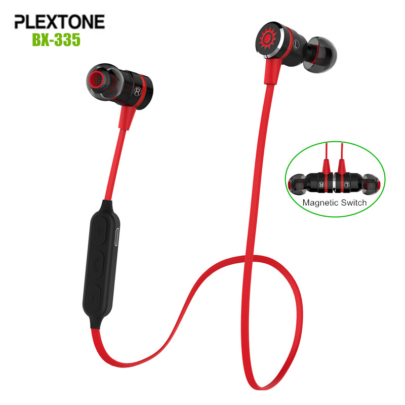 Plextone BX335 Metal Magnetic Switch Wireless Sport Earphones Sweatproof Stereo Bluetooth 4.1 Headset with MIC For iPhone/LG/HTC magnetic switch bluetooth wireless sport earphone sweatproof stereo noise cancelling headset for huawei honor 6c 6x 6a v9