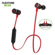 Plextone bx335 metal interruptor magnético sweatproof auriculares deportivos inalámbricos bluetooth estéreo 4.1 auricular con el mic para iphone/lg/htc